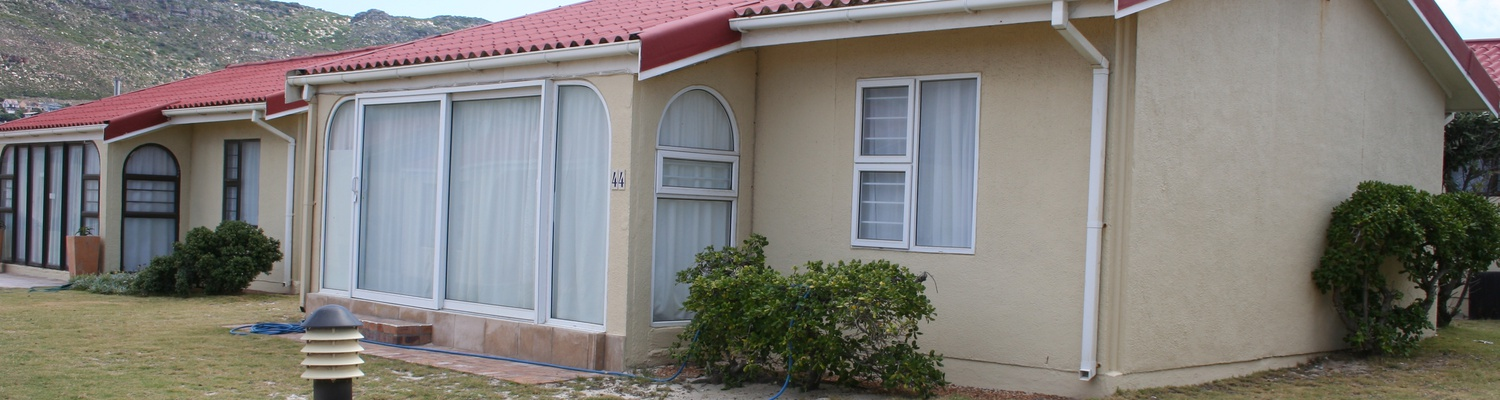 Front view of Cottage 44 at Seaside Cottages Fish Hoek