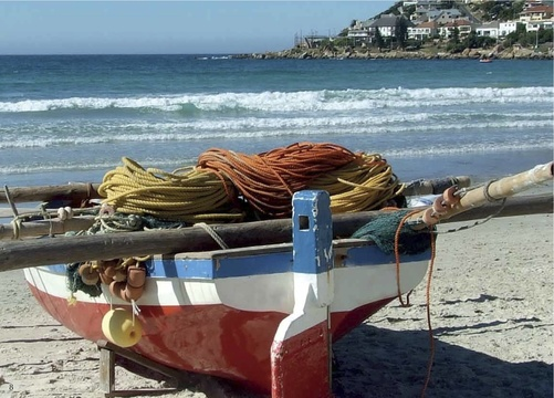 Trek Fishing Boat on Fish Hoek Beach